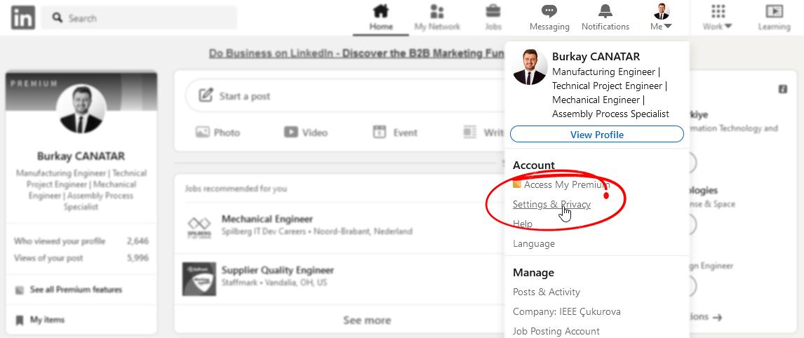 Linkedin Gizlilik Ayarları
